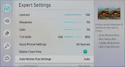 Auto Motion Plus settings on a Samsung TV